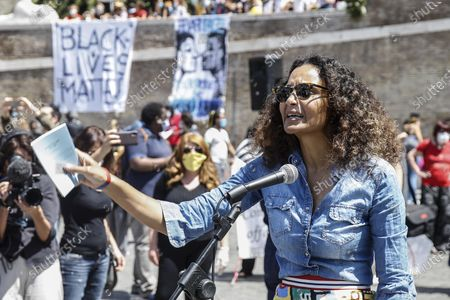 Stella Jean, a young Italian-Haitian designer born in Rome, attends the demonstration in memory of George Floyd in Piazza del Popolo, Rome, Italy, 07 June 2020. The protesters gather to demonstrate in the wake of the death in police custody of George Floyd in the United States.