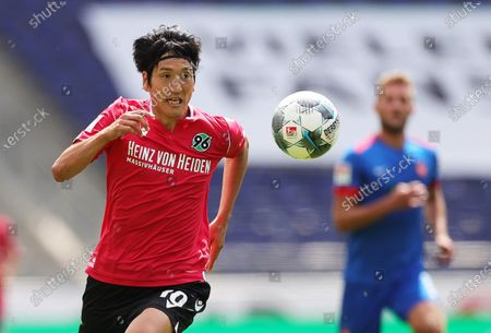 Hannover's Genki Haraguchi in action during the German Bundesliga Second Division soccer match between Hannover 96 and FC Heidenheim 1846 in Hannover, Germany, 07 June 2020.