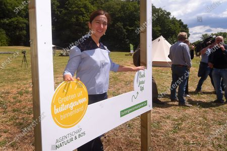 Flemish Minister of Environment, Energy, Tourism and Justice Zuhal Demir pictured during the launch of nature campaign 'Groeten uit het buitengewoon Binnenland' (Greetings from the extraordinary interior country' to promote Flemish nature reserves, Sunday 07 June 2020, in Tielt-Winge.