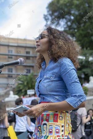 Stella Jean, a Haitian-Italian Roman born stylist addresses the crowd doing the Black Lives Matter protest.