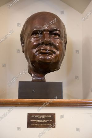 A bronze scuplture of  Sir Winston Churchill in the Churchill Room at the House of Commons