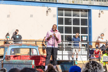 Stock Picture of Saturday Night Live comedian Michael Che held a pop up comedy event in conjunction with Culture Lab LIC at The Plaxall Gallery in Long Island City.
