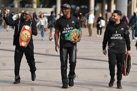 Stock Picture of Professional boxers (L-R) Gairy St. Clair, Sakio Bika and Billy Dib arrive to speak to the media during a Black Lives Matter protest at the Sydney Opera House in Sydney, Australia, 08 June 2020. Former world boxing champ Sakio Bika and other fighters have held a peaceful vigil in Sydney in solidarity with justice for George Floyd and the Black Lives Matter cause.