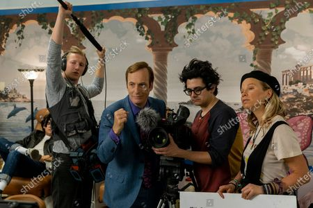 Stock Image of Julian Bonfiglio as Sound Guy, Bob Odenkirk as Jimmy McGill, Josh Fadem as Camera Guy and Hayley Holmes as Drama Girl