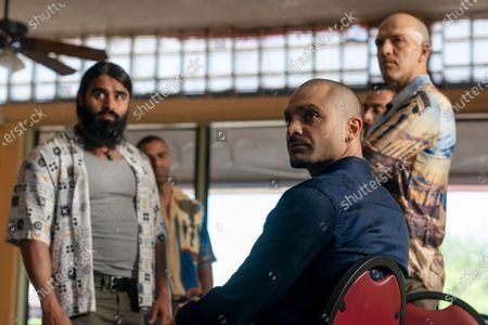 Stock Picture of Efrain Villa as Carlos, Michael Mando as Nacho Varga and KeiLyn Durrel Jones as Blingy