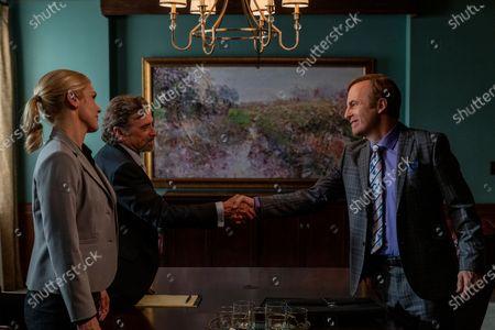 Rhea Seehorn as Kim Wexler, Dennis Boutsikaris as Rich Schweikart and Bob Odenkirk as Jimmy McGill