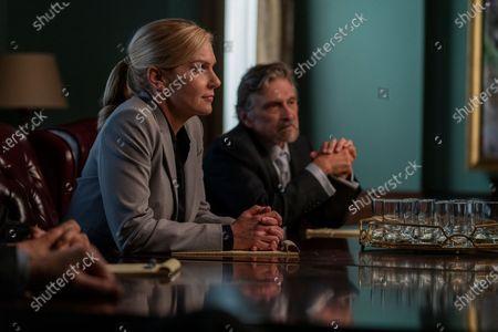 Rhea Seehorn as Kim Wexler and Dennis Boutsikaris as Rich Schweikart