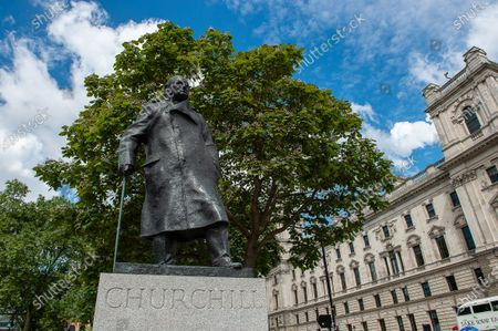A bronze sculplture of former British Prime Minister Sir Winston Churchill in Parliament Square, Westminster, London. The British sculptor was Ivor Roberts-Jones and it was installed in 1973