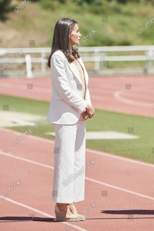 Queen Letizia of Spain visits High Performance Center (CAR) at Consejo Superior de Deportes Facilities on June 8, 2020 in Madrid, Spain