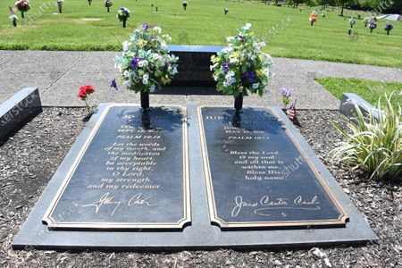 Stock Picture of Johnny Cash and June Carter Cash gravesite at the Hendersonville Memory Gardens & Funeral Home