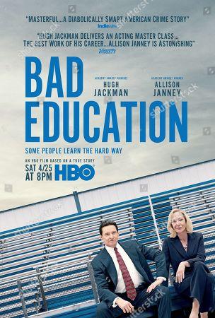 Stock Photo of Bad Education (2020) Poster Art. Hugh Jackman as Frank Tassone and Allison Janney as Pam Gluckin