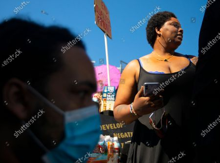 Stock Image of Patrisse Cullors is one of the three co-founders of the Black Lives Matter movement. She participated in the peaceful march in Hollywood, CA today Sunday June 7, 2020. Thousands of people participated in today's peaceful protest against police sparked by the death of George Floyd. (Francine Orr/ Los Angeles Times)