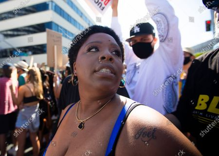 Patrisse Cullors is one of the three co-founders of the Black Lives Matter movement. She participated in the peaceful march in Hollywood, CA today Sunday June 7, 2020. Thousands of people participated in today's peaceful protest against police sparked by the death of George Floyd. (Francine Orr/ Los Angeles Times)