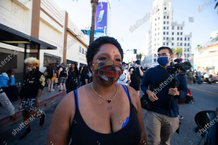 Stock Picture of Patrisse Cullors is one of the three co-founders of the Black Lives Matter movement. She participated in the peaceful march in Hollywood, CA today Sunday June 7, 2020. Thousands of people participated in today's peaceful protest against police sparked by the death of George Floyd. (Francine Orr/ Los Angeles Times)