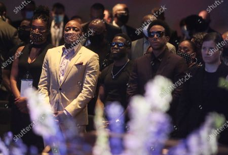 Stock Photo of From Left - Tiffany Haddish, Will Packer, Kevin Hart, Ludacris and many other celebrities attend George Floyd's memorial service on Thursday, June 4, 2020 in Minneapolis, Minnesota. (Jason Armond / Los Angeles Times)