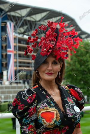 Stock Image of Milliner Ilda Di Vico wears one of her creations on Day One of Royal Ascot 2019 at Ascot Racecourse, Berkshire