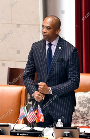 Stock Photo of New York Sate Assemblyman Walter Mosley, D-Brooklyn, speaks in favor of new legislation for Police Reform during a news briefing at the state Capitol, in Albany, N.Y