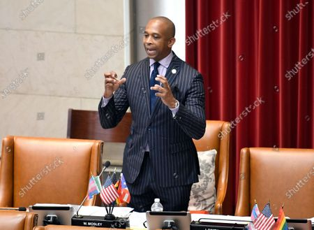 Stock Picture of New York Sate Assemblyman Walter Mosley, D-Brooklyn, speaks in favor of new legislation for Police Reform during a news briefing at the state Capitol, in Albany, N.Y