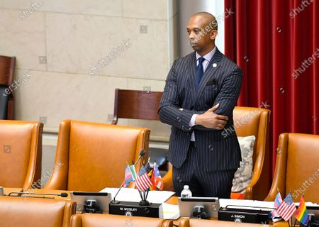 New York Sate Assemblyman Walter Mosley, D-Brooklyn, listens during the debate of new legislation for Police Reform during a news briefing at the state Capitol, in Albany, N.Y