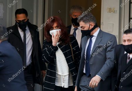 Vice President Cristina Fernandez leaves court on the outskirts of Buenos Aires, Argentina, . The former president and former first lady is a witness for an investigation over alleged illegal espionage during Mauricio Macri's presidency 2015-2019