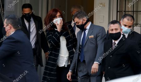Argentina's Vice President Cristina Fernandez leaves court on the outskirts of Buenos Aires, Argentina, . The former president and former first lady is a witness for an investigation over alleged illegal espionage during Mauricio Macri's presidency 2015-2019