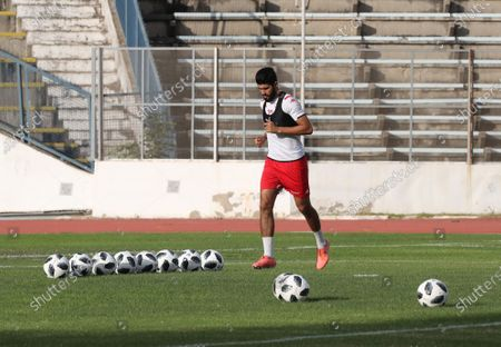 Tunisian player Ferjani Sassi, attends a training session at the Elmanzeh stadium  in Tunis, Tunisia on 08 June 2020. Tunisian national soccer team resumed training today, after the suspension for prevention against COVID-19. The return of the Tunisian soccer selection to training coincides with the announcement by the Tunisian Ministry of Health of no new case of COVID-19 for the fifth consecutive day.
