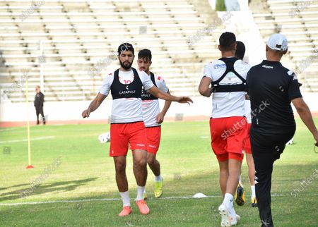 Tunisian player Ferjani sassi attends a training session at the Elmanzeh stadium after three months of inactivity due to the coronavirus pandemic.