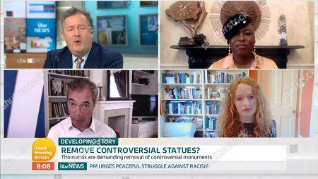 Stock Picture of Piers Morgan, Dr Shola Mos-Shogbamimu, Nigel Farage, Professor Kate Williams