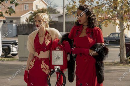 Samara Weaving as Claire Wood and Laura Harrier as Camille Washington