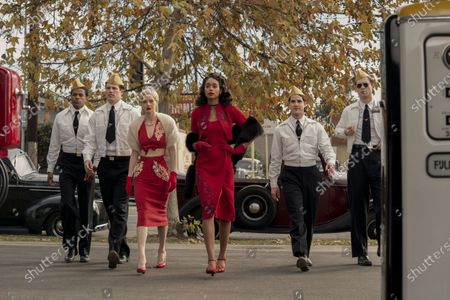 Jeremy Pope as Archie Coleman, Jake Picking as Rock Hudson, Samara Weaving as Claire Wood, Laura Harrier as Camille Washington, Darren Criss as Raymond Ainsley and David Corenswet as Jack Castello