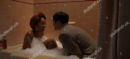 Laura Harrier as Camille Washington and Darren Criss as Raymond Ainsley