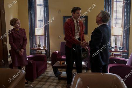 Holland Taylor as Ellen Kincaid, David Corenswet as Jack Castello and Joe Mantello as Dick Samuels