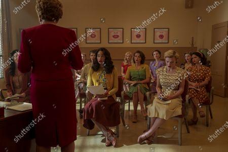 Holland Taylor as Ellen Kincaid, Laura Harrier as Camille Washington and Samara Weaving as Claire Wood