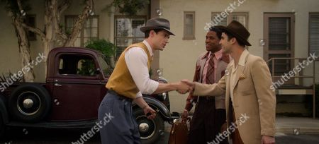 Stock Picture of David Corenswet as Jack Castello, Jeremy Pope as Archie Coleman and Darren Criss as Raymond Ainsley