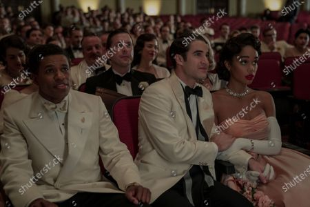 Jeremy Pope as Archie Coleman, Darren Criss as Raymond Ainsley and Laura Harrier as Camille Washington