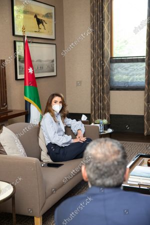 Her Majesty Queen Rania Al Abdullah met with a group of employees and volunteers from the Royal Health Awareness Society (RHAS) and digital health platform Altibbi  to learn about their roles in supporting national efforts to confront the coronavirus pandemic in Jordan.8th June 2020Amman,Jordan