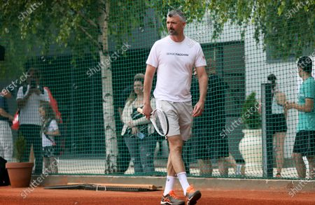 """Tennis player Novak Djokovic and his coach Goran Ivanisevic trained before the Adria Tour today on the tennis courts of TK Novak in the Sports and Recreation Center """"Milan Gale Muskatirovic"""" in Belgrade."""