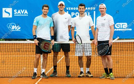 Stock Image of Grega Zemlja, Blaz Rola, Mike Urbanija and Aljaz Bedene  during Day 2 of tennis tournament Mima Jausovec cup where compete best Slovenian tennis players of the East and West, on June 7, 2020 in RCU Lukovica, Slovenia.