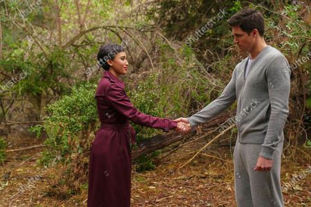 Stock Picture of Andy Allo as Nora Antony and Robbie Amell as Nathan Brown