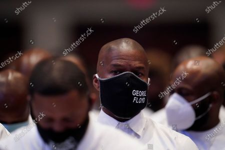 Actor Jamie Foxx pauses near the casket of George Floyd during the funeral service for George Floyd at the Fountain of Praise church, Houston, Texas, USA, 09 June 2020. A bystander's video posted online on 25 May, appeared to show George Floyd, 46, pleading with arresting officers that he couldn't breathe as an officer knelt on his neck. The unarmed Black man later died in police custody and all four officers involved in the arrest have been charged and arrested.