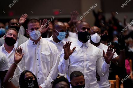 Stock Image of Actor Channing Tatum, left, stands with actor Jamie Foxx during the funeral service for George Floyd at the Fountain of Praise church, Houston, Texas, USA, 09 June 2020. A bystander's video posted online on 25 May, appeared to show George Floyd, 46, pleading with arresting officers that he couldn't breathe as an officer knelt on his neck. The unarmed Black man later died in police custody and all four officers involved in the arrest have been charged and arrested.