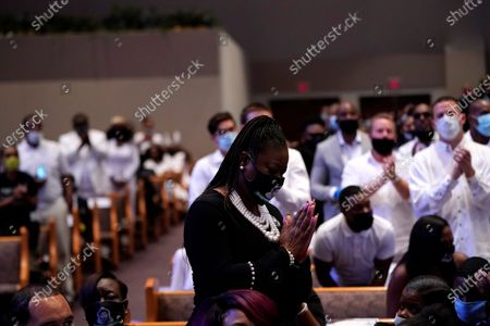 Sybrina Fulton, the mother of Trayvon Martin attends the funeral service for George Floyd at the Fountain of Praise church, Houston, Texas, USA, 09 June 2020. A bystander's video posted online on 25 May, appeared to show George Floyd, 46, pleading with arresting officers that he couldn't breathe as an officer knelt on his neck. The unarmed Black man later died in police custody and all four officers involved in the arrest have been charged and arrested.