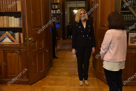 President of Hellenic Republic Katerina Sakellaropoulou (right) and President of the Movement for Change (left), Fofi Gennimata, during their meeting