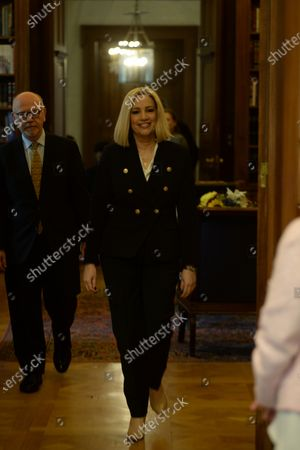 President of the Movement for Change, Fofi Gennimata entering the office for the meeting with the President of Hellenic Republic Katerina Sakellaropoulou.