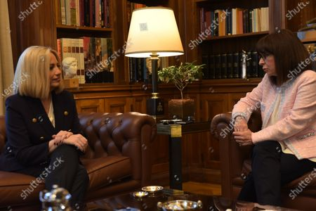 Stock Picture of President of Hellenic Republic Katerina Sakellaropoulou (right) and President of the Movement for Change (left), Fofi Gennimata, during their meeting