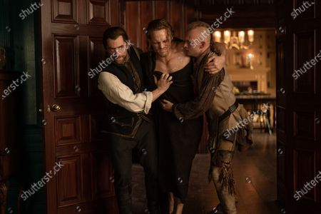 Stock Image of Richard Rankin as Roger Wakefield, Sam Heughan as Jamie Fraser and John Bell as Young Ian