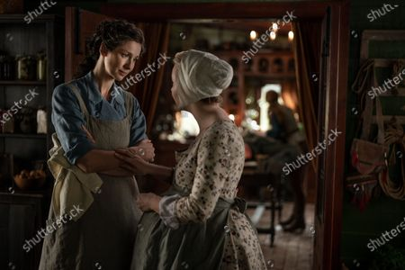 Stock Photo of Caitriona Balfe as Claire Randall and Lauren Lyle as Marsali