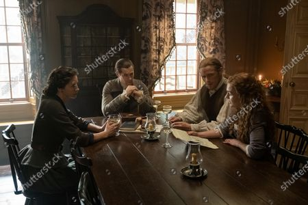Caitriona Balfe as Claire Randall, David Berry as Lord John Grey, Sam Heughan as Jamie Fraser and Sophie Skelton as Brianna Randall Fraser