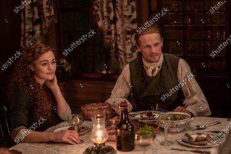 Sophie Skelton as Brianna Randall Fraser and Sam Heughan as Jamie Fraser