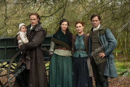 Sam Heughan as Jamie Fraser, Caitriona Balfe as Claire Randall, Sophie Skelton as Brianna Randall Fraser and Richard Rankin as Roger Wakefield